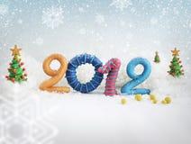 2012 in de sneeuw Royalty-vrije Stock Afbeeldingen