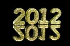2012 in den netten goldenen Funkelnzahlen Stockfotografie