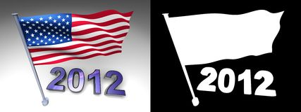 2012 design and USA flag on a pole. With alpha channel Royalty Free Stock Photos