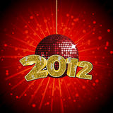 2012 disco ball. Sparkling red disco ball with gold mosaic 2012 sign Stock Image