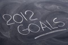 2012 doelstellingen op bord Stock Afbeelding