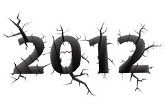 2012 doomsday year concept. Conceptual image of 2012 doomsday year digits cracked in white background Royalty Free Stock Photography
