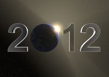 2012 with the earth. Render of the date 2012 and our planet as the 0 Vector Illustration