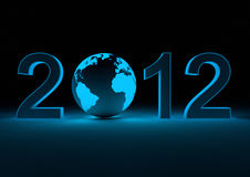 2012 with the earth. Render of the date 2012 and our planet as the 0 Royalty Free Stock Photos