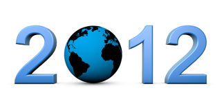 2012 with the earth. Render of the date 2012 and our planet as the 0 Stock Image