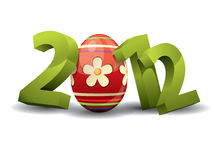 2012 easter. 3d text - 2012 easter with colored easter egg Stock Photography