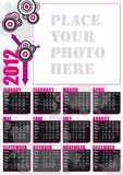 2012 english calendar with photo frame. 2012 english calendar modern grunge style with big photo frame vector illustration