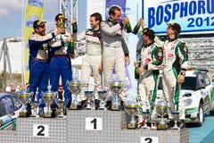 2012 ERC Bosphorus Rally. Juho Hanninen(1st), Yagiz Avci(2nd), Luca Rossetti(3rd) at podium of 41st Bosphorus Rally ERC Championship on July 8, 2012 in Istanbul Stock Photo