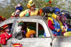 2012 Fiesta Bowl Parade Oversize Car Clowns. Parade clowns of the 2012 annual Fiesta Bowl Parade held in Phoenix, Arizona (AZ), USA, on December 30, 2012, pack a Stock Images