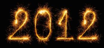 2012 - figure fatte degli sparklers Fotografia Stock Libera da Diritti