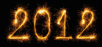 2012 - figures made of sparklers. 2012 New Year - figures made of sparklers (Bengal fires Royalty Free Stock Photo
