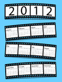 2012 film strip calendar. On blue Royalty Free Stock Photo