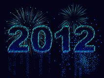 2012 in fireworks. Fireworks display spells out the year 2012 stock illustration