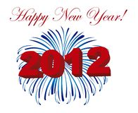 2012 on fireworks. Isolated over white background. vector Stock Images