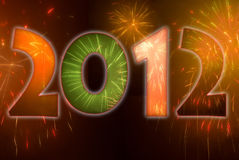 2012 fireworks. Festive 2012 with fireworks. Illustration Royalty Free Stock Photo