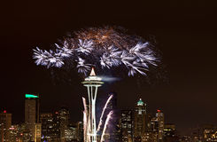 2012 fireworks display Seattle. Royalty Free Stock Image