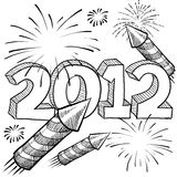 2012 fireworks Vector. Doodle style 2012 New Year illustration in vector format with fireworks background Stock Photo