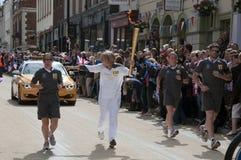 2012 flama olímpica - relé da tocha Fotografia de Stock Royalty Free