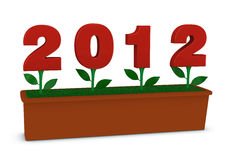 2012 flowers. Flower pots with flowers made with the number 2012 Royalty Free Illustration