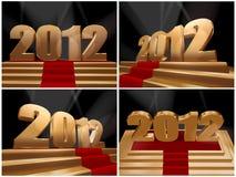 2012 - gelukkig nieuw jaar op gouden podium Royalty-vrije Stock Afbeeldingen