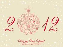 2012 Gelukkige de groetkaart van het Nieuwjaar Stock Afbeelding