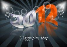 2012 Gelukkige Nieuwjaarskaart Stock Afbeelding