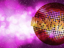 2012 glowing disco party. Sparkling gold disco ball with 2012 sign on a glowing purple background Stock Photo