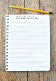 2012 Goals. Resolutions and objectives for the new year Stock Image
