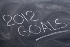 2012 goals on blackboard. 2012 goals  - white chalk handwriting on blackboard with eraser patterns Stock Image