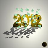 2012 gold. Gold 2012 and dollar bills Stock Images