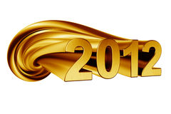 2012 in gold. 2012 written in twisted gold Royalty Free Stock Photography