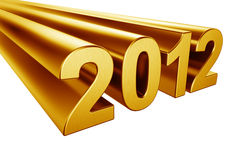 2012 in gold. 2012 written in gold on a white background Royalty Free Stock Photo