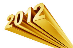 2012 in gold. 2012 written in gold on a white background Royalty Free Stock Photography