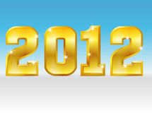 2012 gold. Gold. 2012 written in golden letters with shiny surface, shadow and a background stock illustration