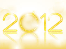 2012 Golden Neon with Christmas Ball Stock Image