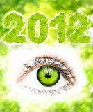2012-Green Vision. 2012- green vison for the new year.A green eye on green background with leaves forming the numbers 2012 stock images