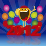 2012 happy face. 2012 with happy face on balloons background. vector Stock Images