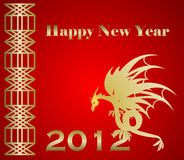 2012 Happy New Year. Dragon on red background Stock Photos