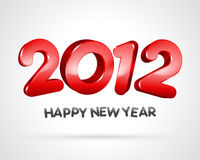 2012 Happy new year. Red 3D 2012 Happy new year message on white background Stock Images