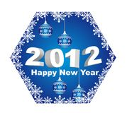 2012 happy new year. With christmas balls isolated. vector royalty free illustration