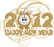 2012 - happy new year. Ne year`s eve party, alarm clock, clock face, clock bell Stock Illustration