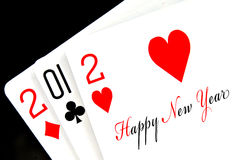 2012 happy new year. Written in playing cards Stock Images