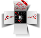 2012 happy new year box. Open box with timer and written happy new year 2012 Royalty Free Stock Photo