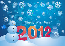 2012 - Happy New Year Card. 2012 New Year Card with snowflakes and snowmen stock illustration