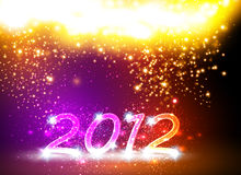 2012 Happy New Year card. Neon design Royalty Free Stock Photo