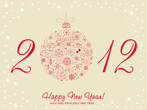 2012 Happy New Year greeting card. With stylized design Christmas tree toy ball made of stars and snowflakes Stock Image