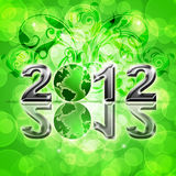 2012 Happy New Year World Globe. On Blurred Background Illustration stock illustration