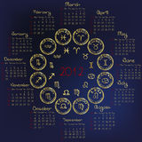2012 Horoscope Calendar with zodiacal signs Stock Image