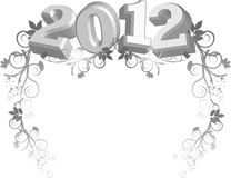 2012 image with floral border Royalty Free Stock Image
