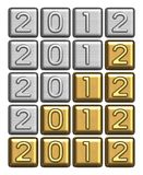 2012 inscription of silver and gold bullion Royalty Free Stock Image